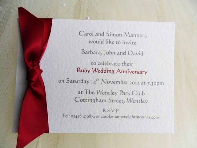 25th Wedding Anniversary Invitation Wording