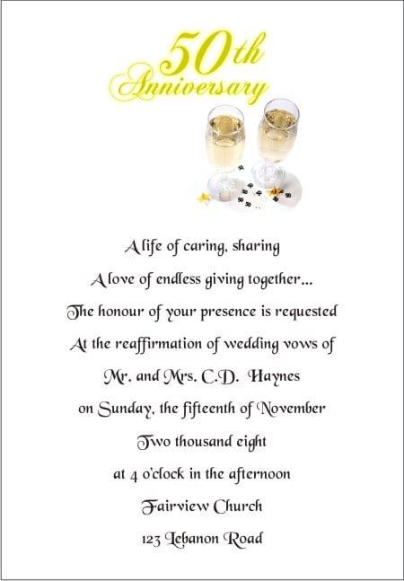 25th Wedding Anniversary Invitation Wording Samples
