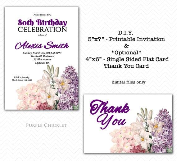 80th Birthday Invitation Format
