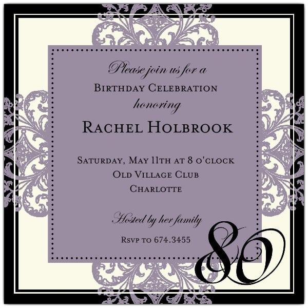 80th Birthday Invitation Samples