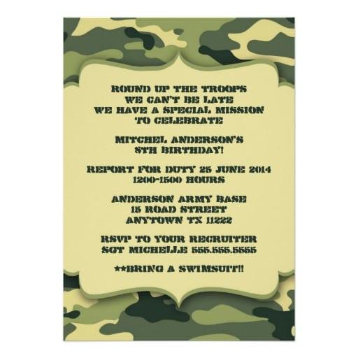 Army Tank Invitation B-day Cards Free