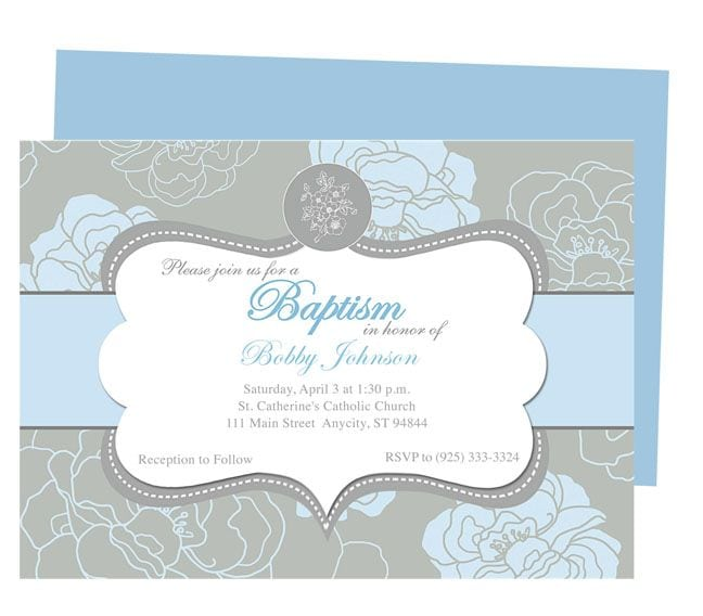Baby Boy Baptism Invitation Template