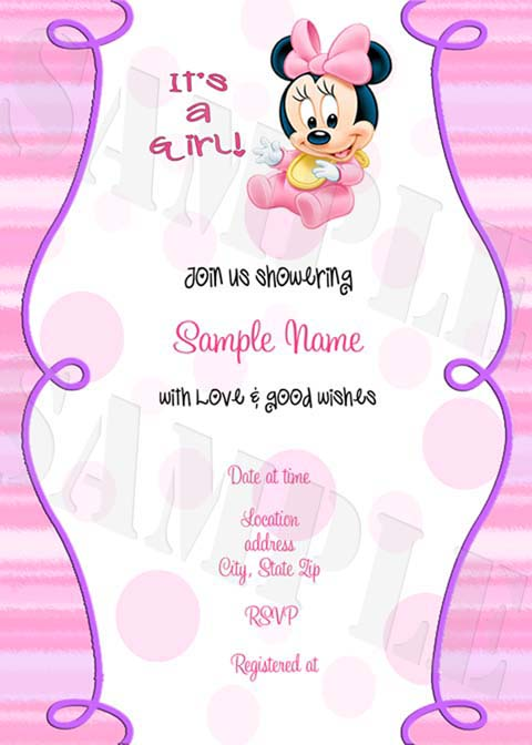 Baby Shower Invitation Template Minnie Mouse