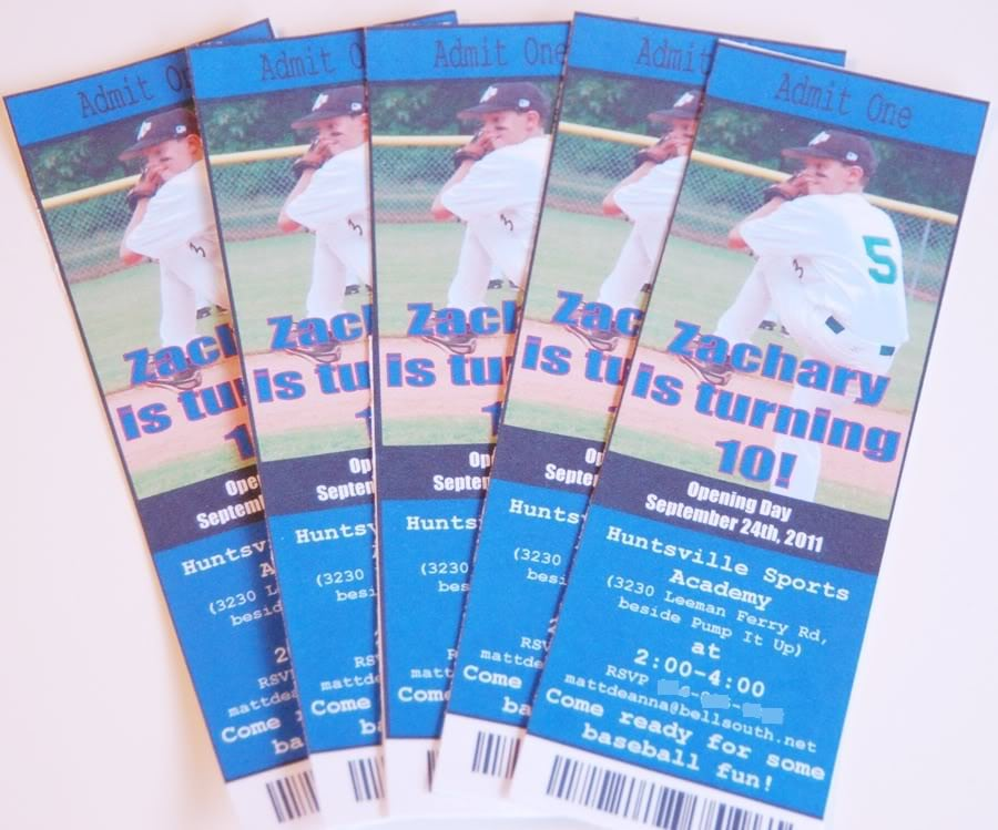 Baseball Ticket Party Invitation Template Free