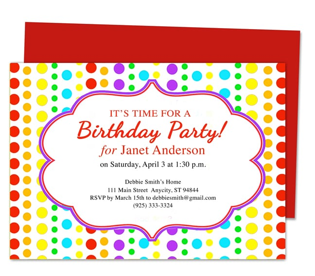 Birthday Party Invitation For Kids Free Template