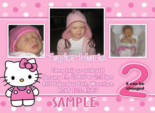 Birthday Party Invitation Hello Kitty