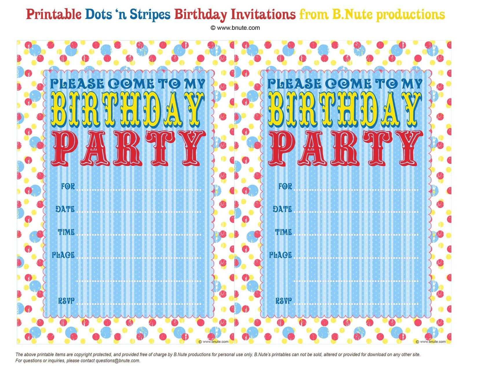 Birthday Party Invitation Prinout
