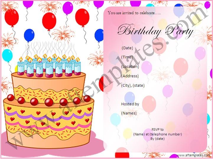 Birthday Party Invitation Templates Free Word