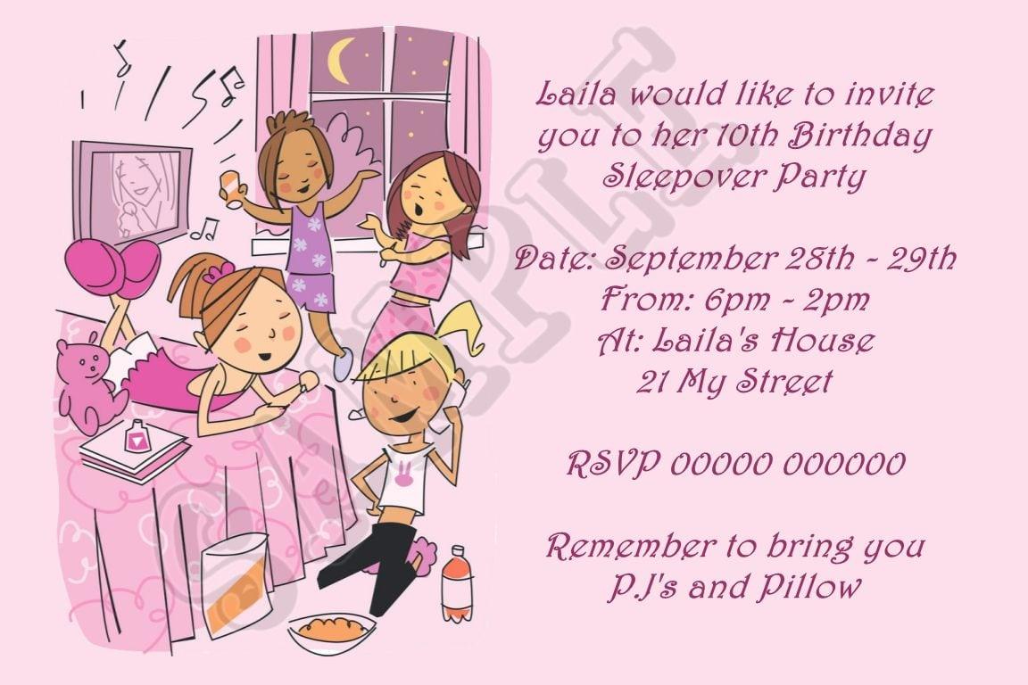 Birthday Sleep Over Party Invitation
