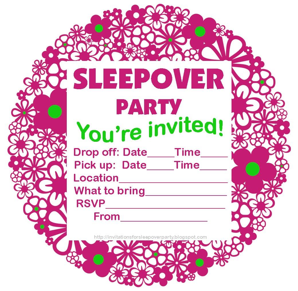 Birthday Sleepover Party Invitations