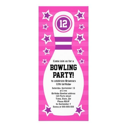 Bowling Pin Birthday Invitation