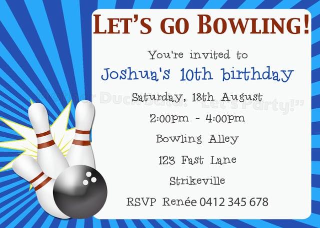 Bowling Pin Invitation Template