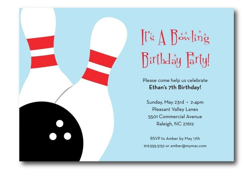Bowling Themed Birthday Party Invitations