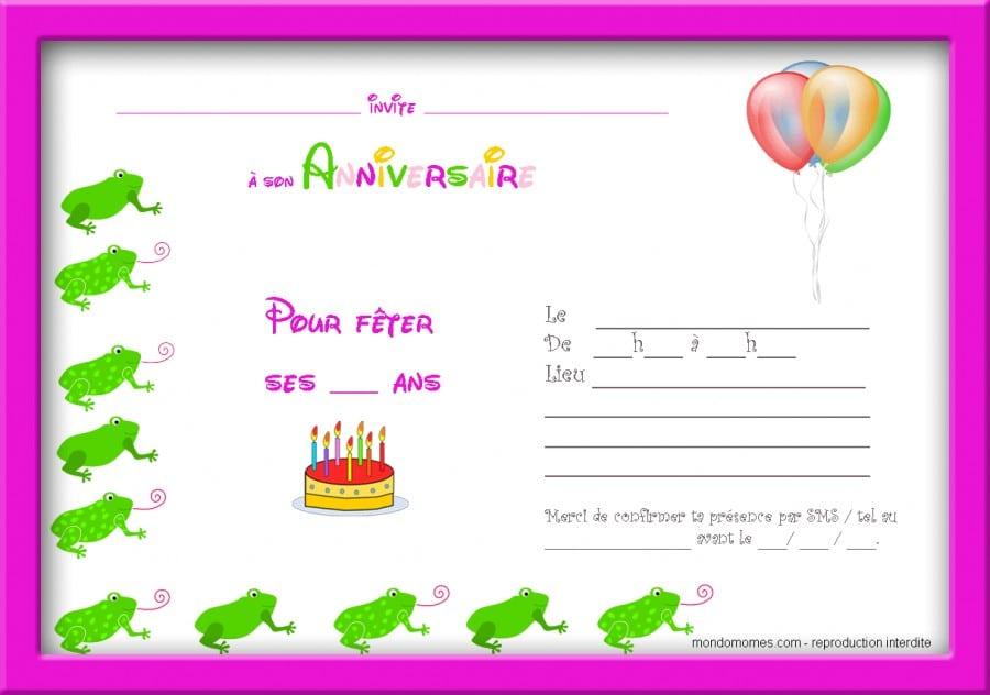 Carte Invitation Anniversaire Gratuite   Imprimer Fille