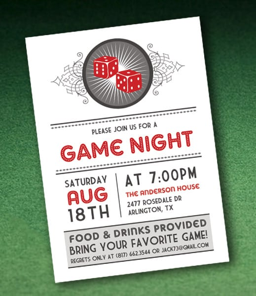 Casino Night Invitation Template Free