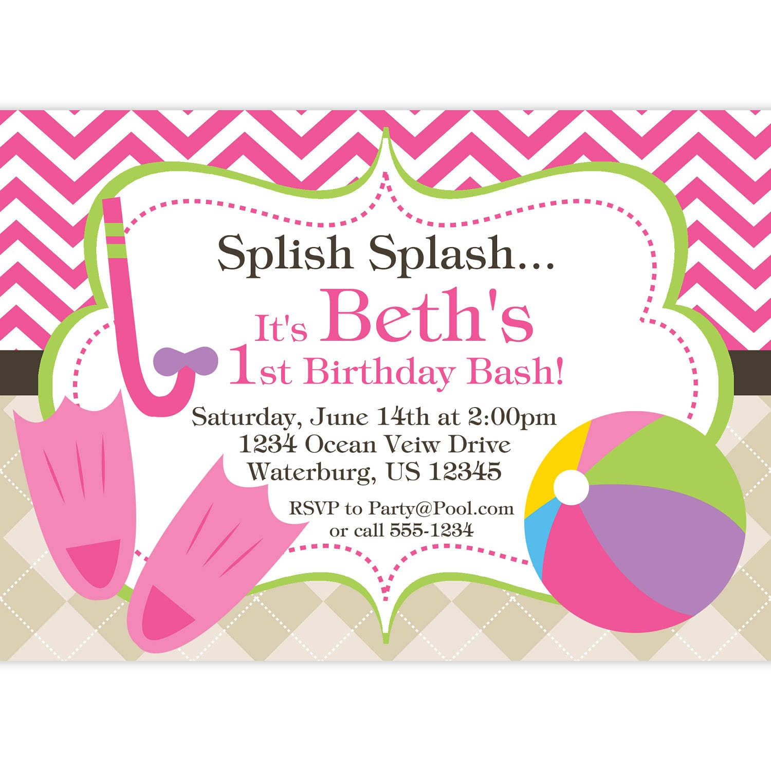 Child pool party invitation template free for Pool party invitations templates free