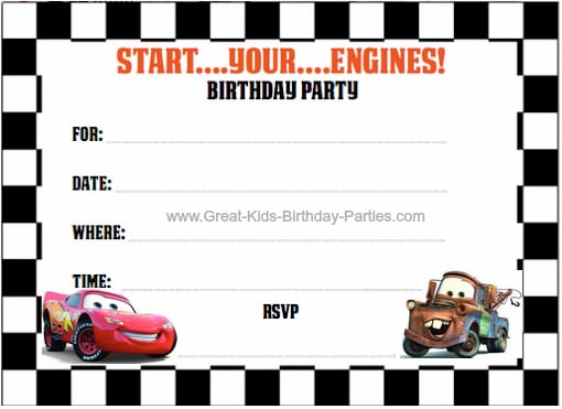 Disney Cars Birthday Invitation Printable