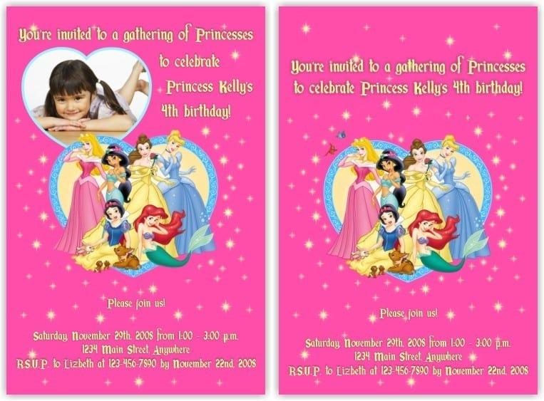 Disney princess invitation card for birthday stopboris Image collections