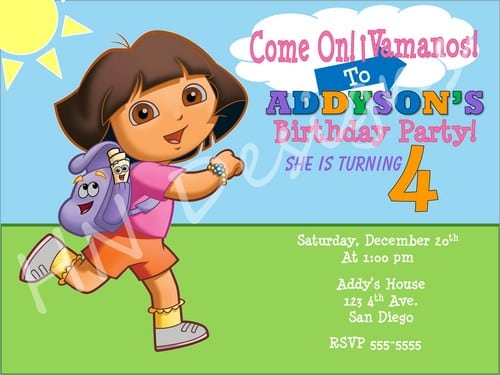 Download. Dora The Explorer Invitation Template Free