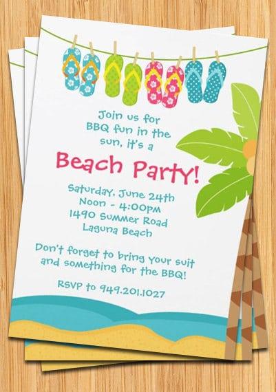 Editable Beach Party Invitation
