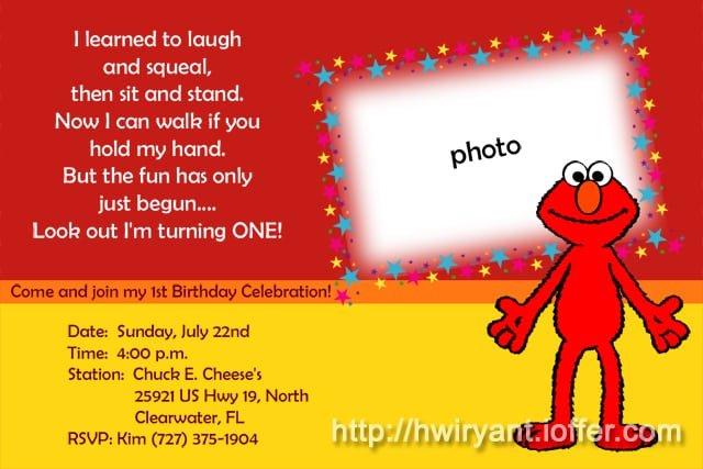 Elmo 1st Birthday Invitation Printable