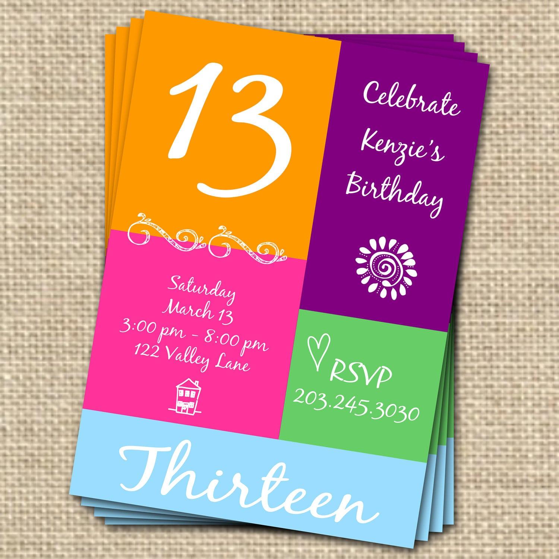 Free 13th Birthday Invitation Template