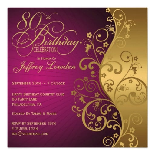 Free 80 Birthday Invitation
