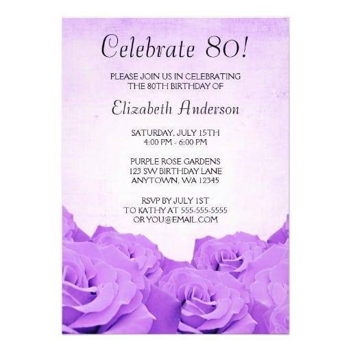 Free 80th Birthday Invitations Templates