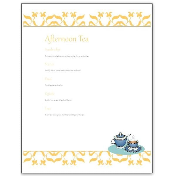 Freee tea invitation template for Tea party menu template