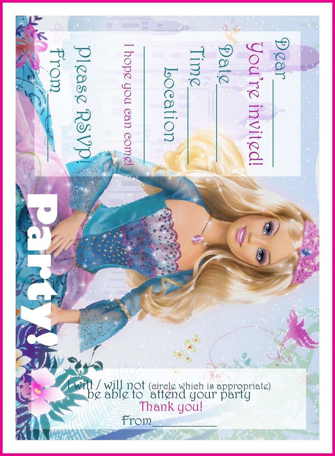 Free Barbie Princess Printable Invitations