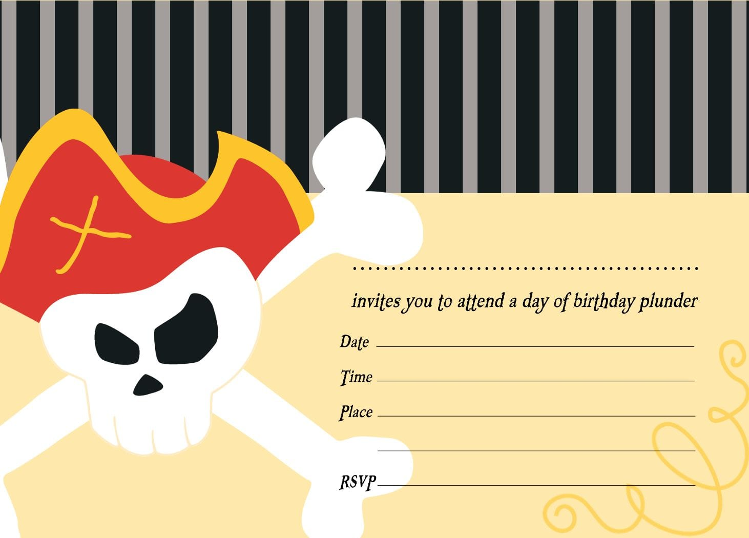 Free Birthday Pirate Invitation Template