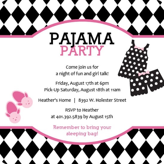 Free Birthday Slumber Party Invitation Templates