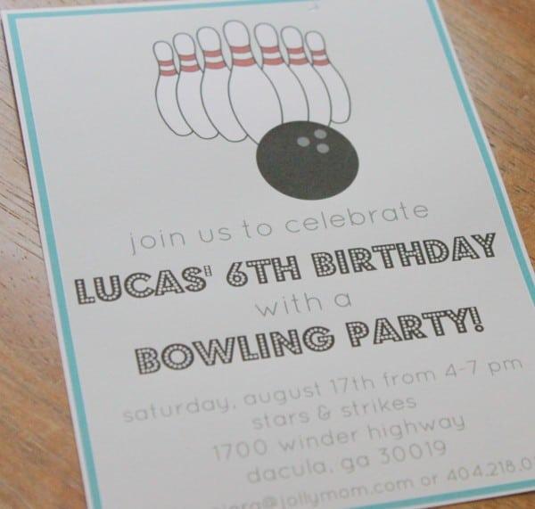 bowling birthday invitation templates