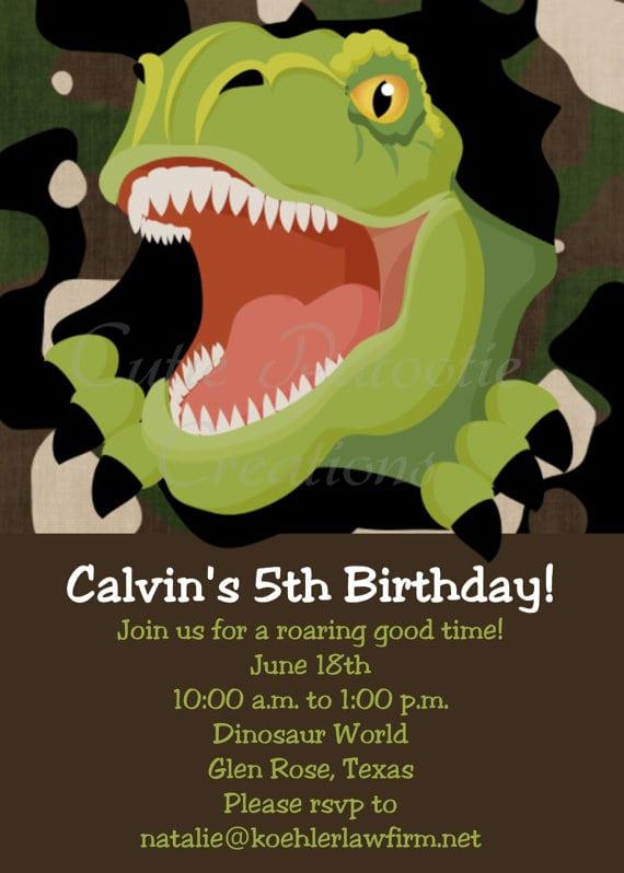 Free Dinosaur Birthday Party Invitation Template