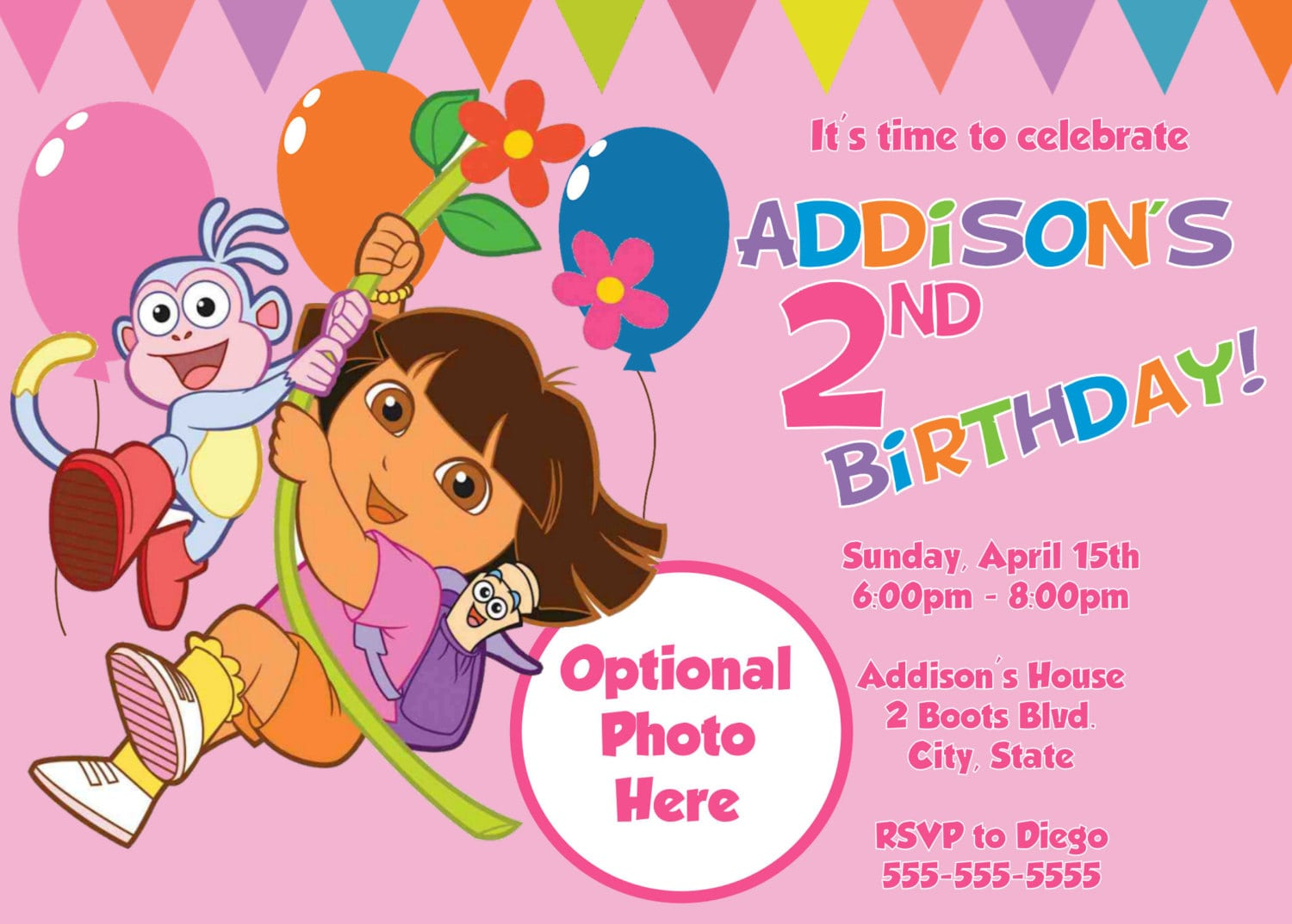 Dora Explorer Invitation Template – Printable Dora Birthday Invitations