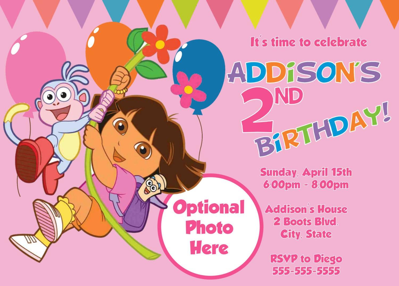 Dora Explorer Invitation Template – Printable Dora Birthday Invitations