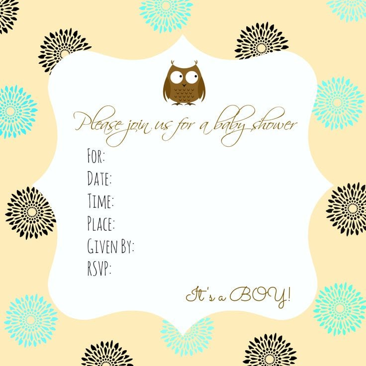 Free Downloadable Boy Baby Shower Invitations