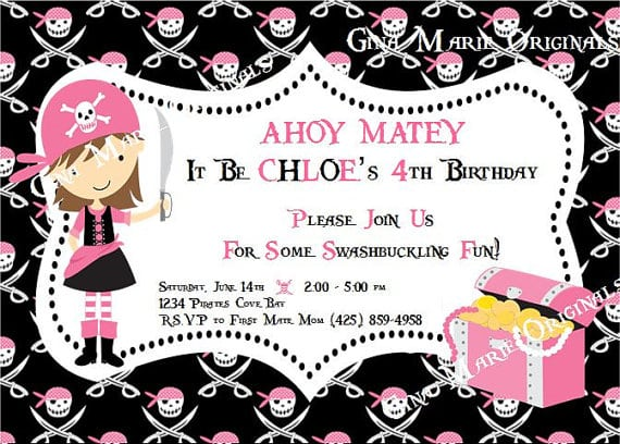 Free Girl Pirate Party Invitations