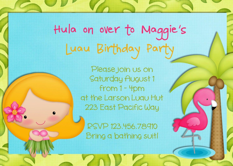 Free Hawaiian Theme Party Invitation Template