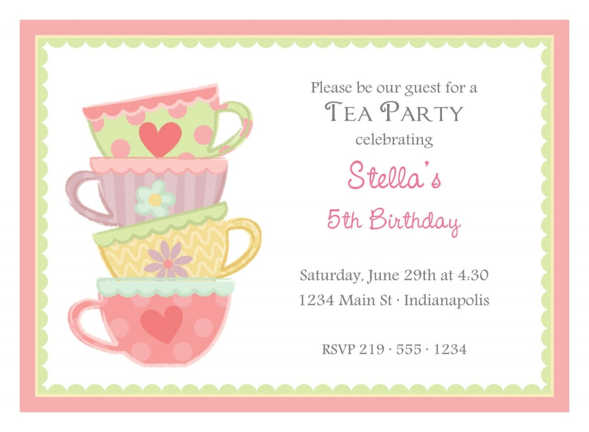 Free afternoon tea invitation template for Tea party menu template