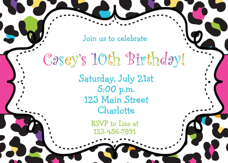 Free Leopard Birthday Invitation Templates