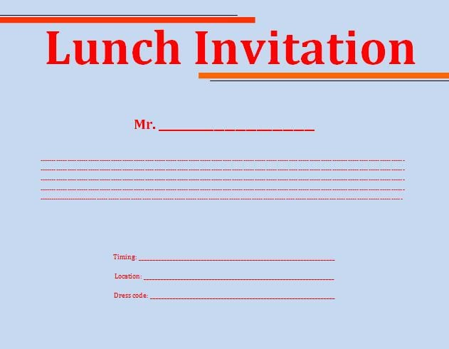 Free Lunch Invitation Template In Word