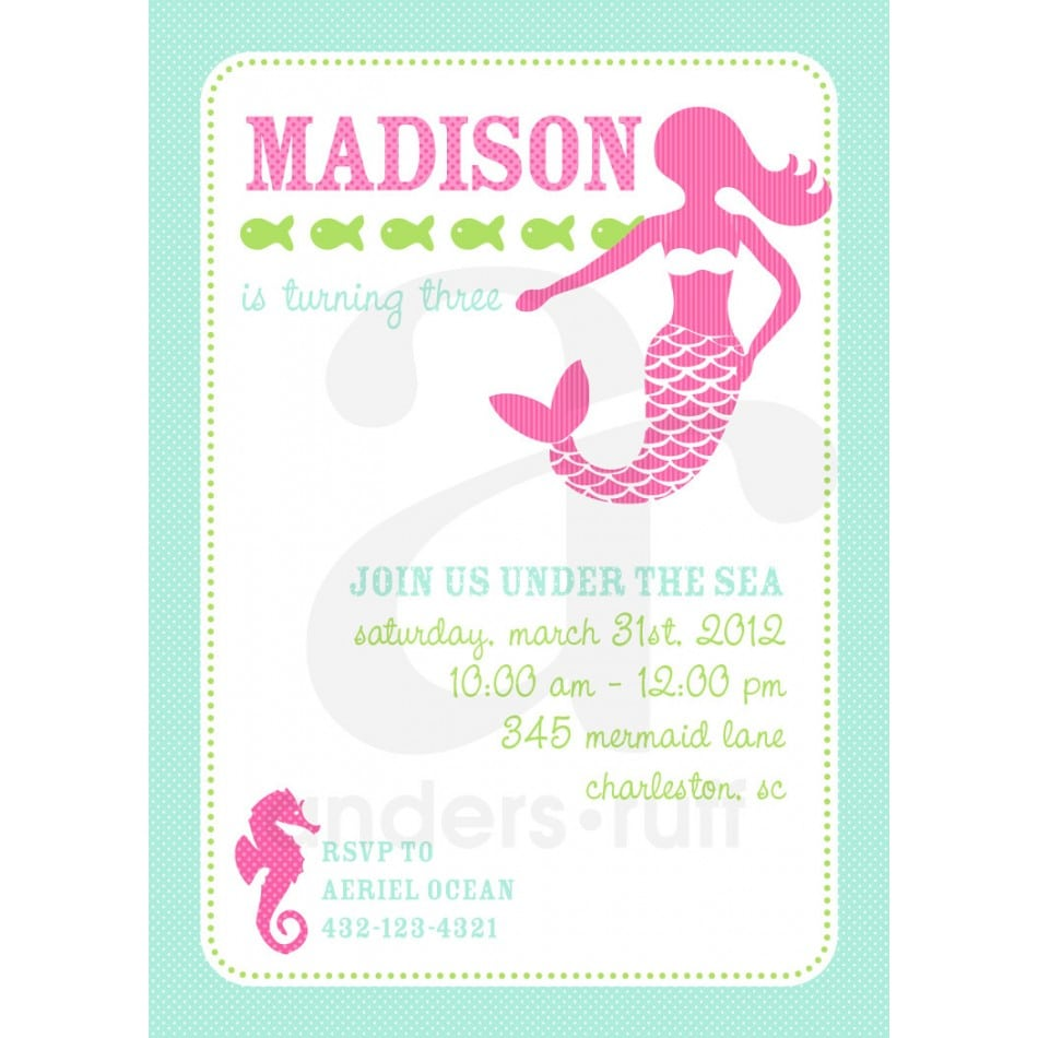 Free Mermaid Sea Invitation Printables