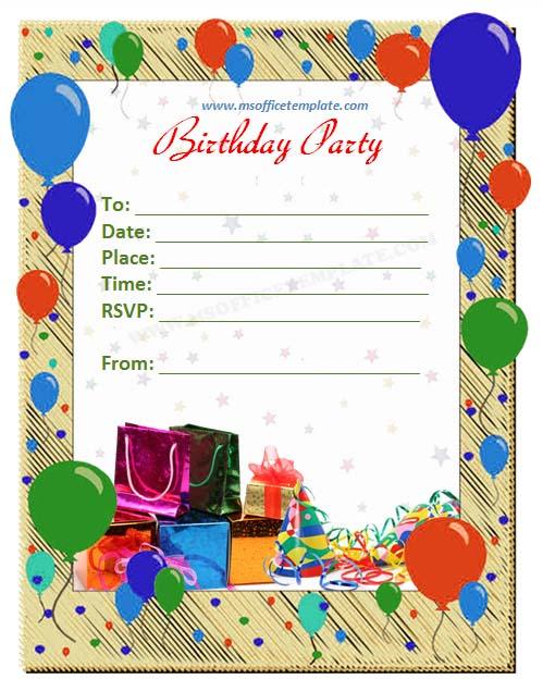 Free Microsoft Word Birthday Invitation Templates