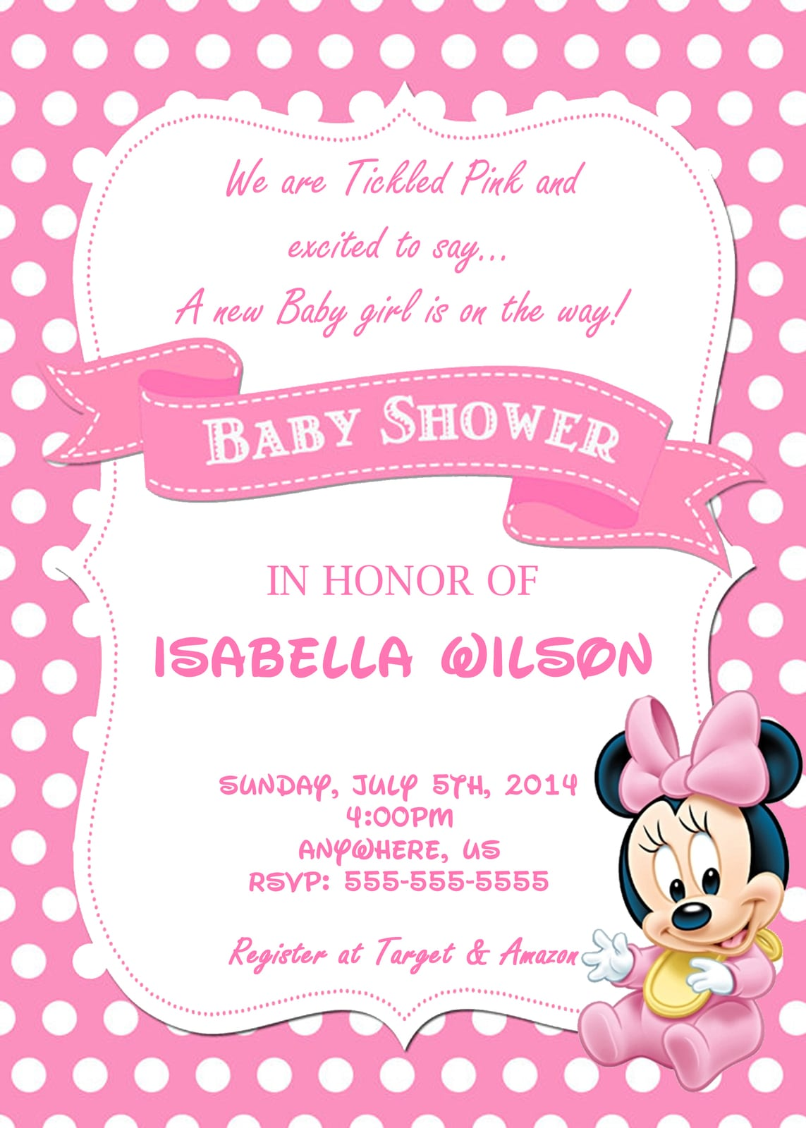 Free Minnie Mouse Baby Shower Invitation Template