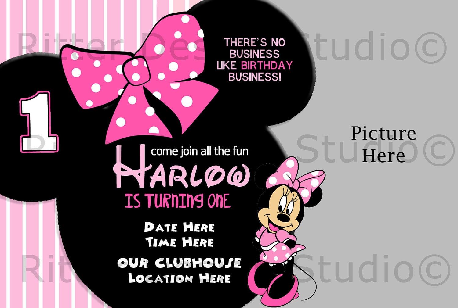 Free Minnie Mouse Birthday Invitations Download