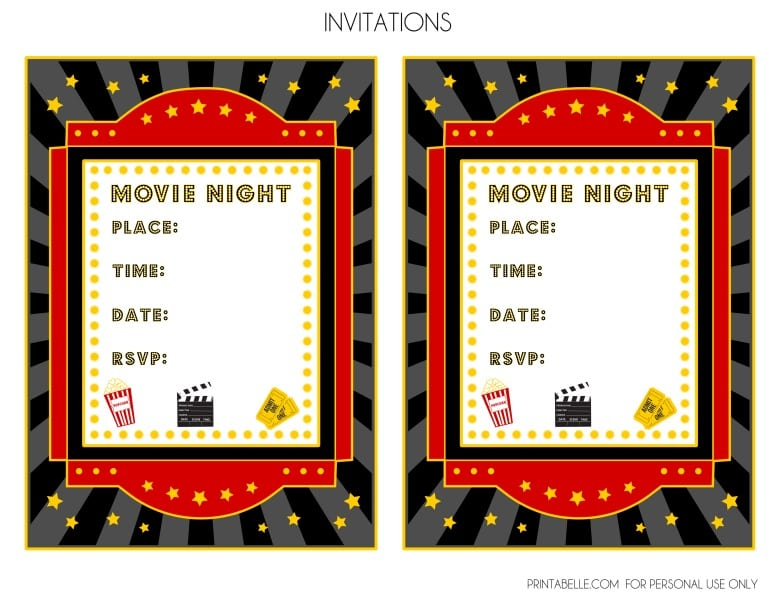Free Film Templates  Movie Ticket Invitations Printable Free