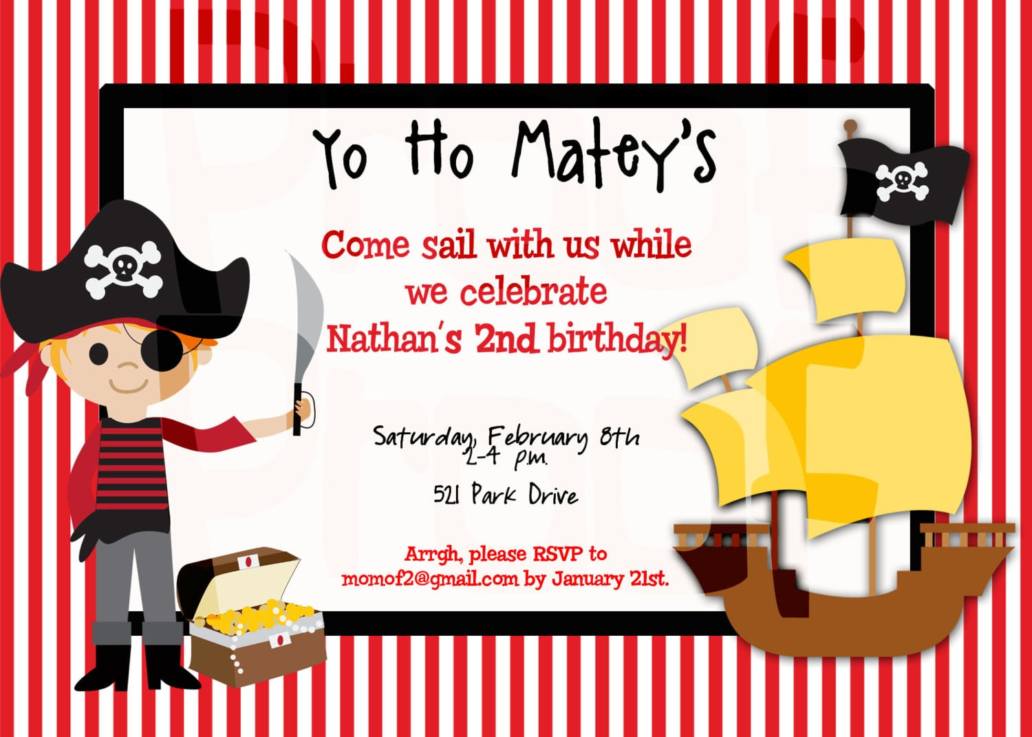Free Pirate Birthday Party Invitation Template