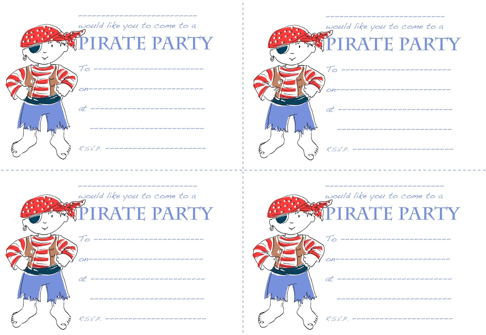 Free Pirate Party Invitation Template