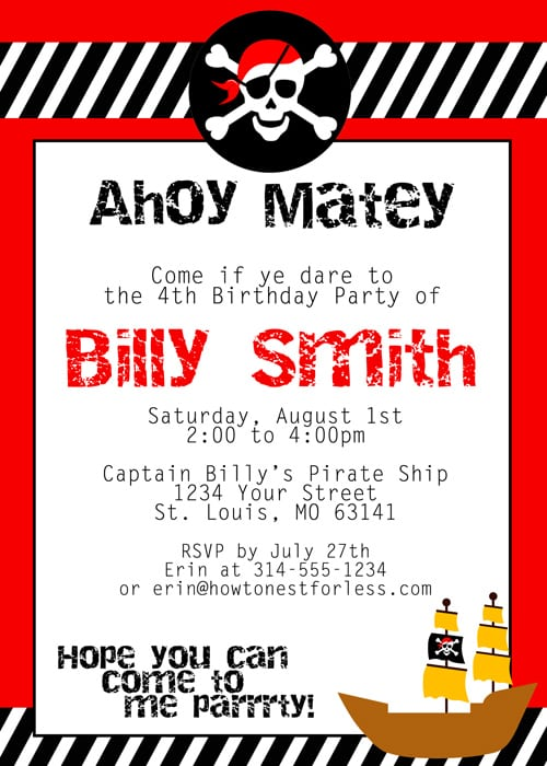 Free Pirate Party Invitations To Print